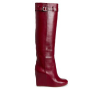 Buckled Leather Wedge Knee Boots Claret