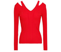 Cutout Ribbed-knit Top Red