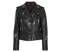 Appliquéd leather biker jacket
