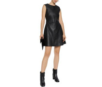 Whipstitch-trimmed leather mini dress
