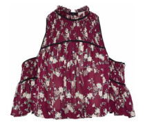 Soha cold-shoulder shirred floral-print silk crepe de chine top