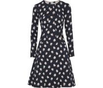 Flared crinkled floral-jacquard cotton-blend dress