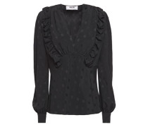 Woman Ruffle-trimmed Polka-dot Jacquard Blouse Black