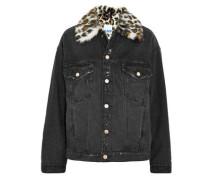 Leopard-print Faux Fur-trimmed Denim Jacket Charcoal