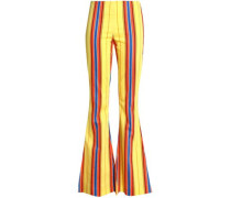 Striped Twill Flared Pants Yellow