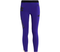 Cropped zip-detailed stretch leggings