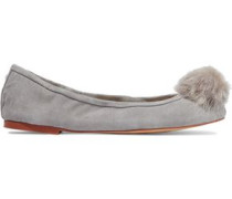 Farina faux fur-embellished suede ballet flats