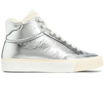 Shearling-trimmed Crinkled Metallic Leather Sneakers Silver