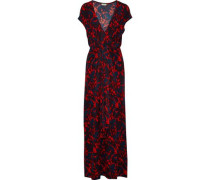 Majao Tie-front Printed Stretch-jersey Maxi Dress Claret