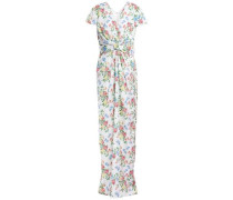 Beatrice Bow-embellished Hammered-satin Maxi Dress White