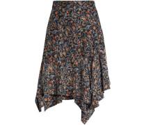 Asymmetric printed silk skirt