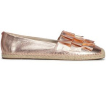 Ruffled Metallic Leather Espadrilles Rose Gold