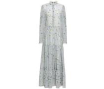 Tiered Floral-print Chiffon Maxi Dress Sky Blue