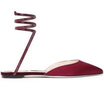 Woman Crystal-embellished Satin Point-toe Flats Merlot