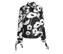 Aria cutout floral-print faille blouse