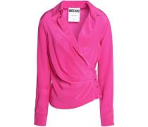 Wrap-effect silk-satin blouse