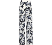 Pleated Printed Silk Crepe De Chine Wide-leg Pants Ivory
