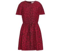 Leopard-print Wool And Silk-blend Mini Dress Claret