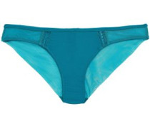 Stretch-jersey And Tulle Low-rise Briefs Teal