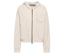 Woman Bead-embellished French Cotton-blend Terry Hoodie Neutral