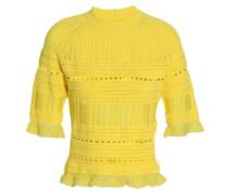 Pointelle-knit cotton-blend top