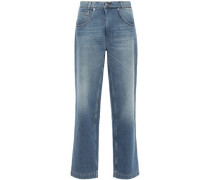 Faded High-rise Wide-leg Jeans Mid Denim