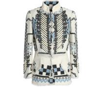 Suede-trimmed embellished woven jacket