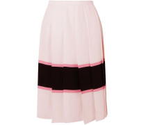 Woman Pleated Striped Crepe De Chine Skirt Pastel Pink