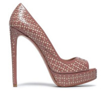 Laser-cut Leather Platform Pumps Antique Rose