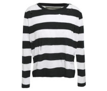 Distressed Striped Knitted Sweater Black