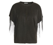 Fringed Bead-embellished Cashmere Top Charcoal