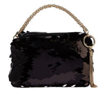 Woman Callie Sequined Tulle Clutch Black