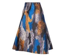 Woman Flared Printed Twill Skirt Black
