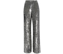 Sequined Silk Wide-leg Pants Silver