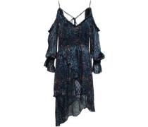 Eloma Cold-shoulder Asymmetric Printed Devoré-chiffon Mini Dress Navy