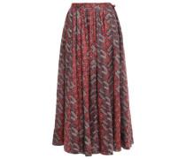 Floral-print Linen Midi Skirt Burgundy