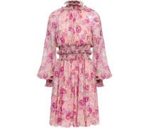 Shirred Floral-print Silk Crepe De Chine Dress Baby Pink