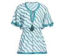 Pompom-embellished Printed Cotton And Silk-blend Peplum Top Jade