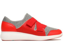 Paneled leather and mélange scuba sneakers