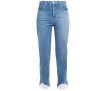 Woman Cropped Lace-trimmed Mid-rise Slim-leg Jeans Light Denim