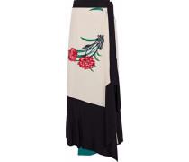 Floral-print silk midi wrap skirt