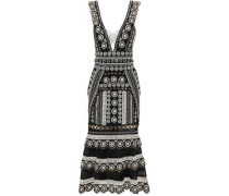 Lattice-trimmed eyelet-embellished guipure lace midi dress
