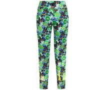 Printed Crepe Slim-leg Pants Green