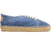 Kosario appliquéd frayed canvas sneakers