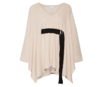 Belted ribbed cashmere poncho