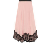 Kaya lace-trimmed pleated crepe de chine midi skirt