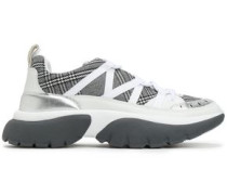 Textured-leather And Prince Of Wales Checked Woven Sneakers White