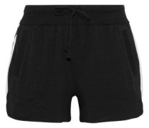 Appliquéd cotton-blend jersey pajama shorts