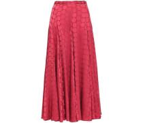 Satin Jacquard Midi Skirt Crimson