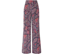 Woman Printed Silk Crepe De Chine Wide-leg Pants Black